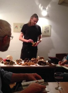 Geoff at a fungi talk and tasting session at The Garden House, Brighton.  October 2013.